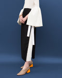 Zoe Long Wrap Skirt Viscose Black and White - SPECIAL PRICE