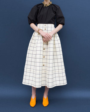 Freya Skirt Wool and Silk White Check