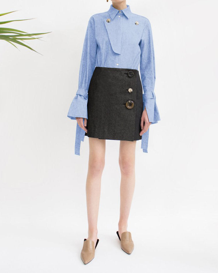 Gemma Wrap Mini Skirt Black Denim