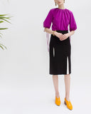 Kelsey Split Seam Skirt Crepe Black and White
