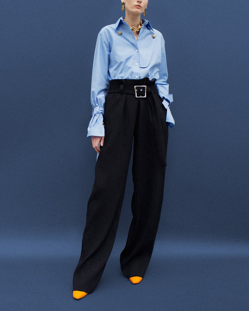 Ava Belted Trousers Black Pleated Viscose