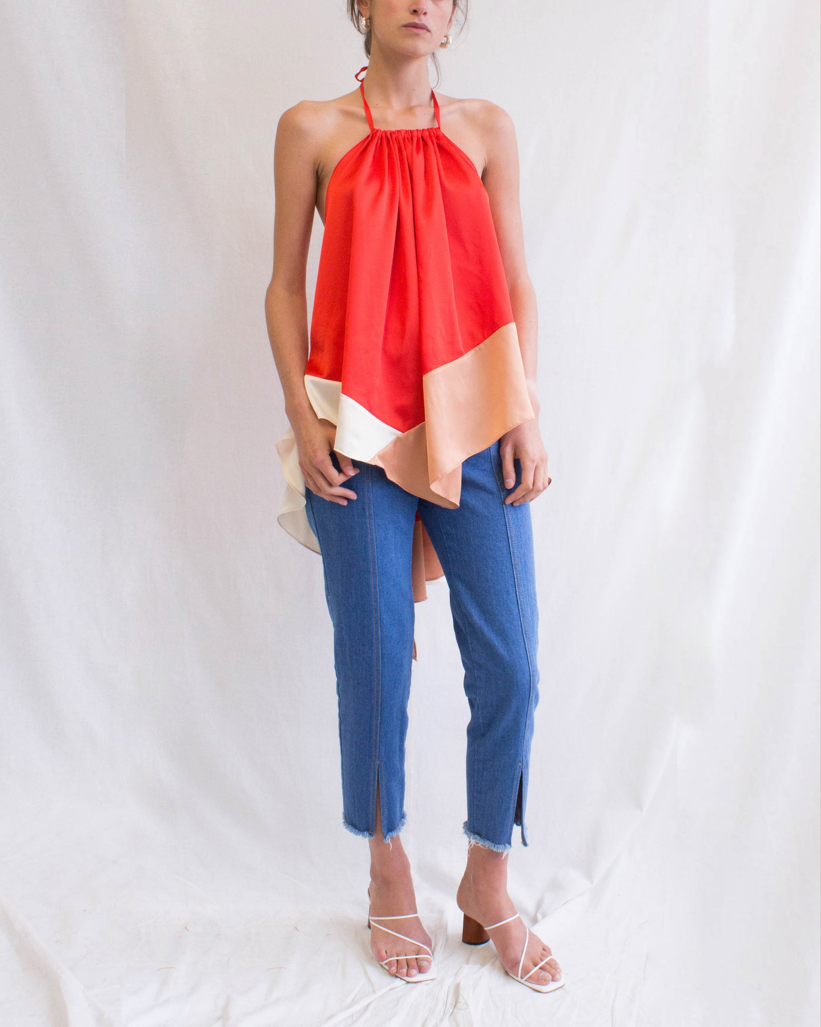 Erin Top Satin Red + Ivory + Blush - SPECIAL PRICE