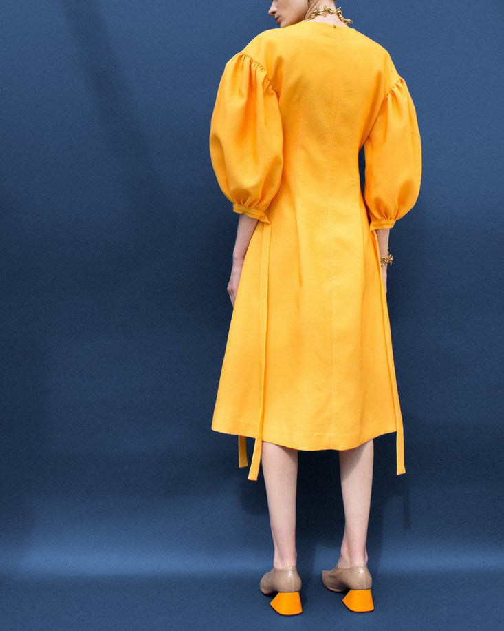 Jamie Puff Sleeve Dress Yellow