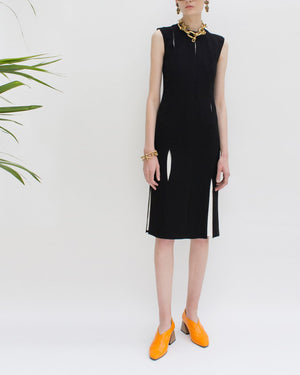 Thea Split Seam Dress Black Crepe - SPECIAL PRICE