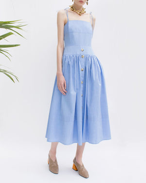 Issy Strap Dress Chambray Blue