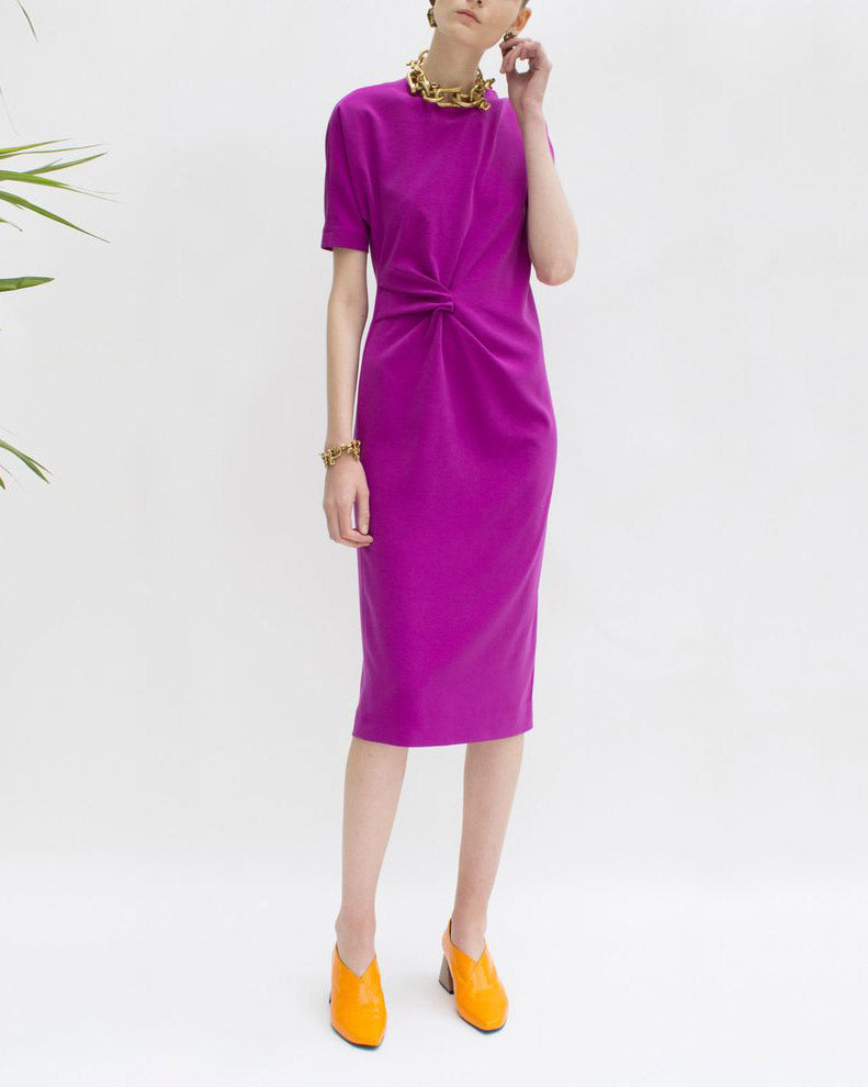 Lois Knot Draped Dress Purple Crepe - SPECIAL PRICE
