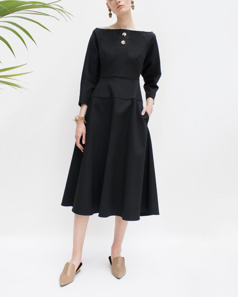 Mina Boat Neck Dress Black