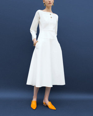 Mina Boat Neck Dress White