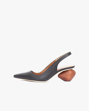 Margot Slingback with Honey Heel  Leather Black