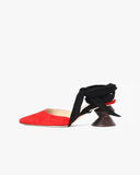 Barbara with Dark Wood Heel Suede Red