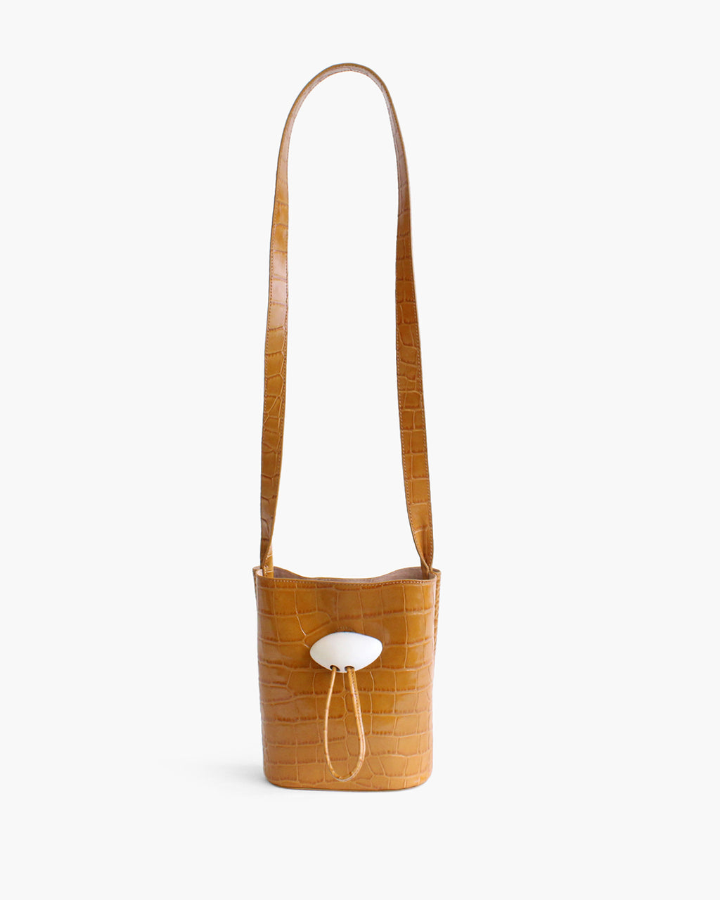 Camila Bag with  White Wood Closure Leather Croc Mustard