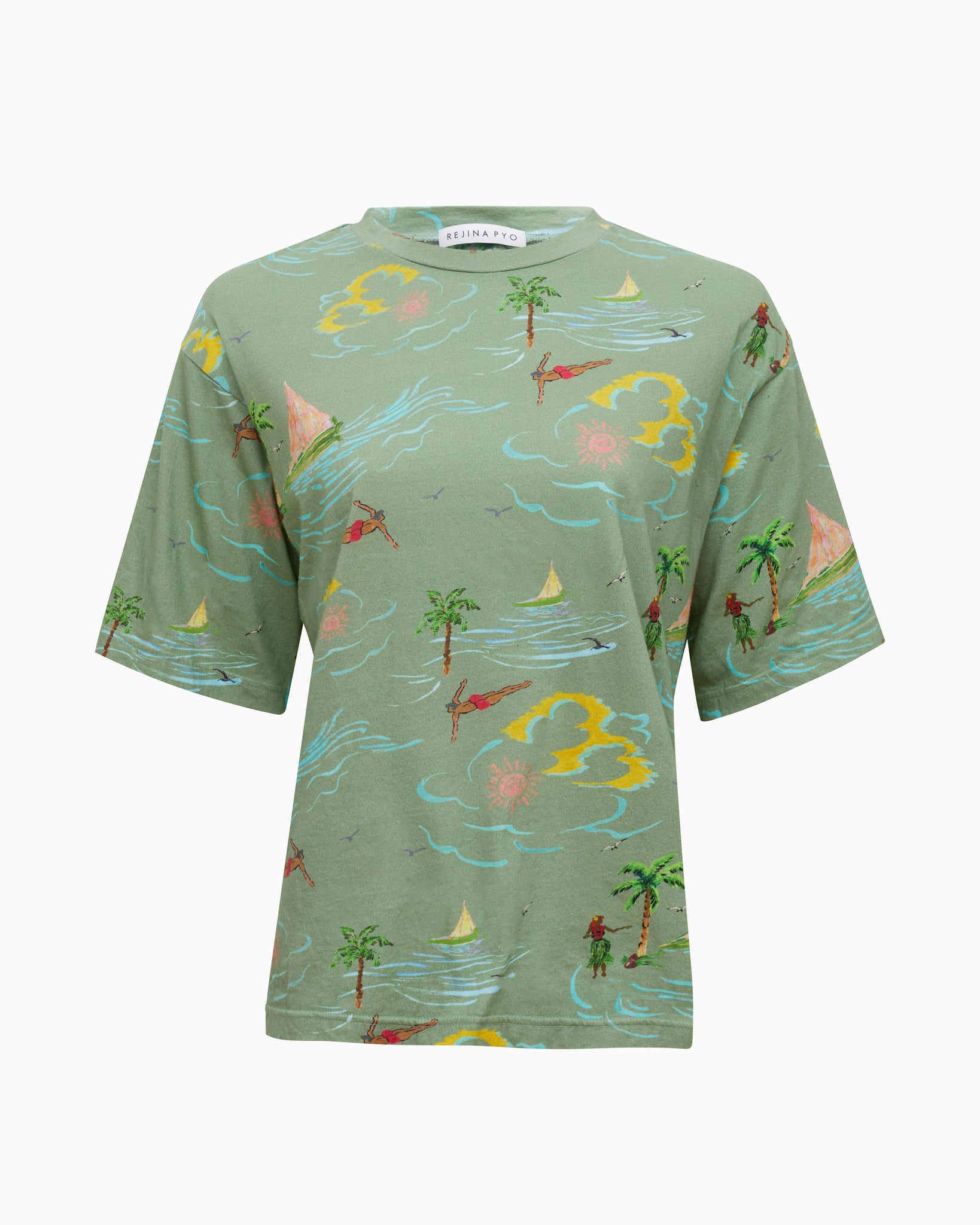 Rhys T-shirt Cotton Jersey Beach Print Khaki