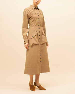 Miller Dress Cotton Twill Camel