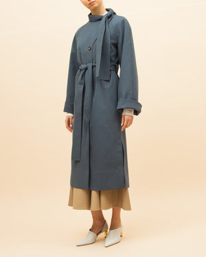 Riley Trench Cotton Blue