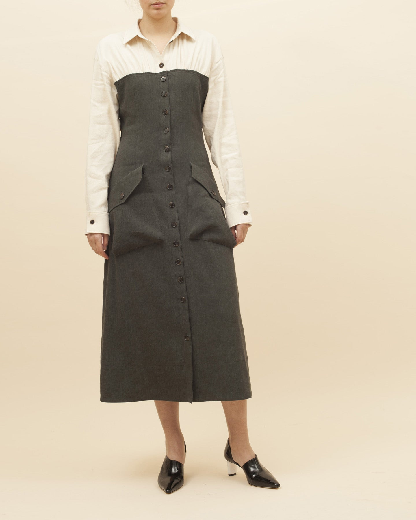 Miller Dress  Charcoal + Ivory - SPECIAL PRICE