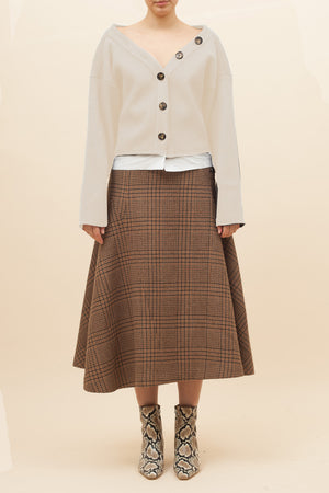 Alana Skirt Wool Check Beige - SPECIAL PRICE
