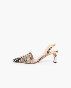 Conie Slingbacks Leather Print Boa Beige