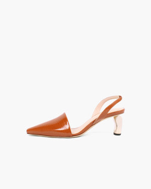 Conie Slingbacks Patent Leather Emboss Almond - SPECIAL PRICE