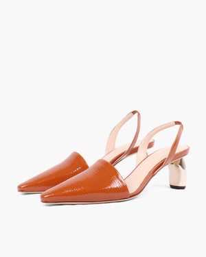 Conie Slingbacks Patent Leather Emboss Almond