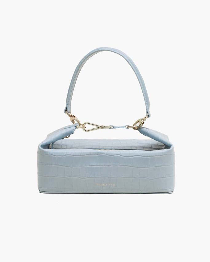 Olivia Bag Leather Croc Duck Egg Blue