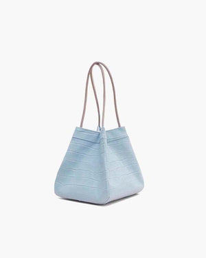 Rita Duck Egg Blue Leather Croc Bag