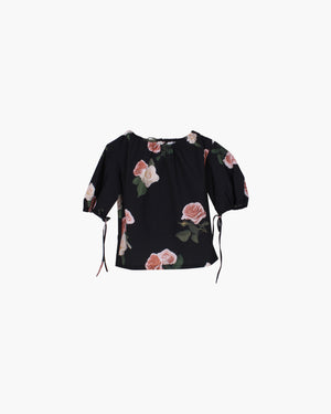 Sofie Top Cotton Charcoal Rose Print