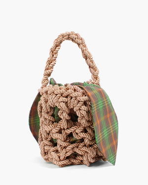 Sylvia Bag Satin Rope Natural + Check Orange & Green Lining