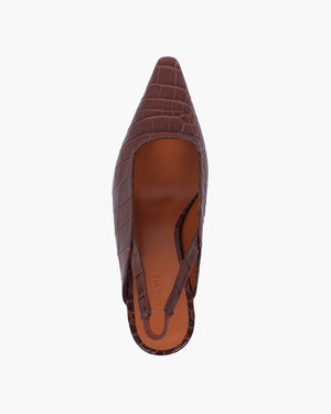 Dylan Slingback Leather Emboss Croc Brown