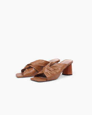 Naomi Mule Leather Brown + Honey Stain Heel