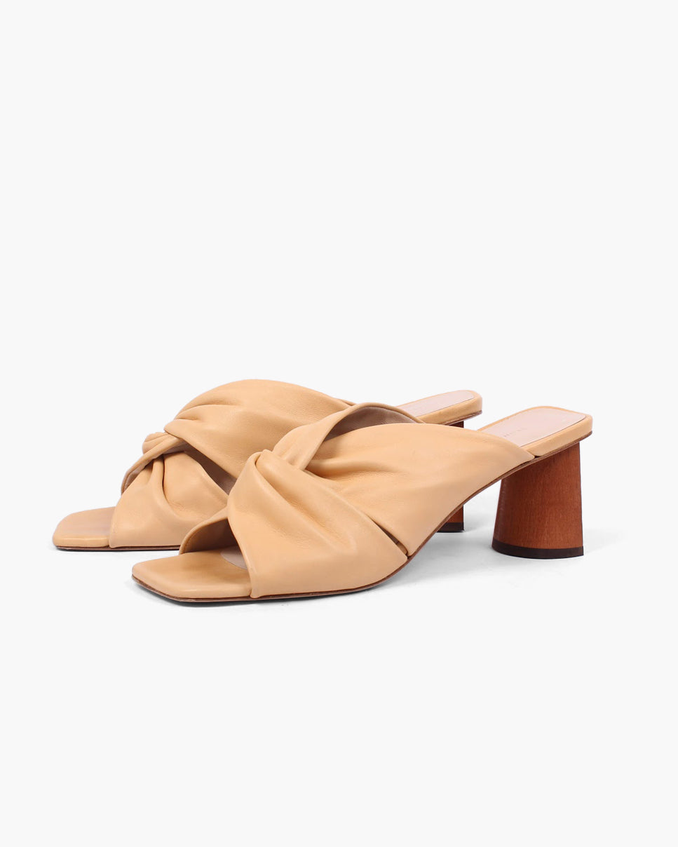 Naomi Mule Leather Peach + Honey Stain Heel
