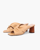 Naomi Mules Leather Peach + Honey Stain Heel