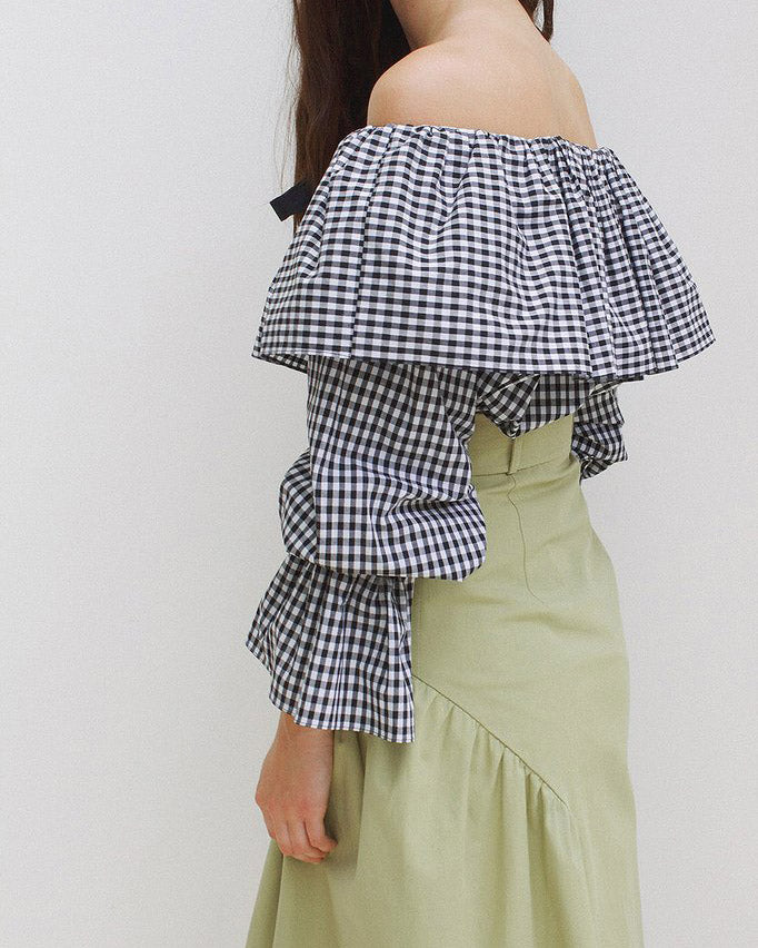 Clara Off-Shoulder Blouse Black & White Gingham - SPECIAL PRICE
