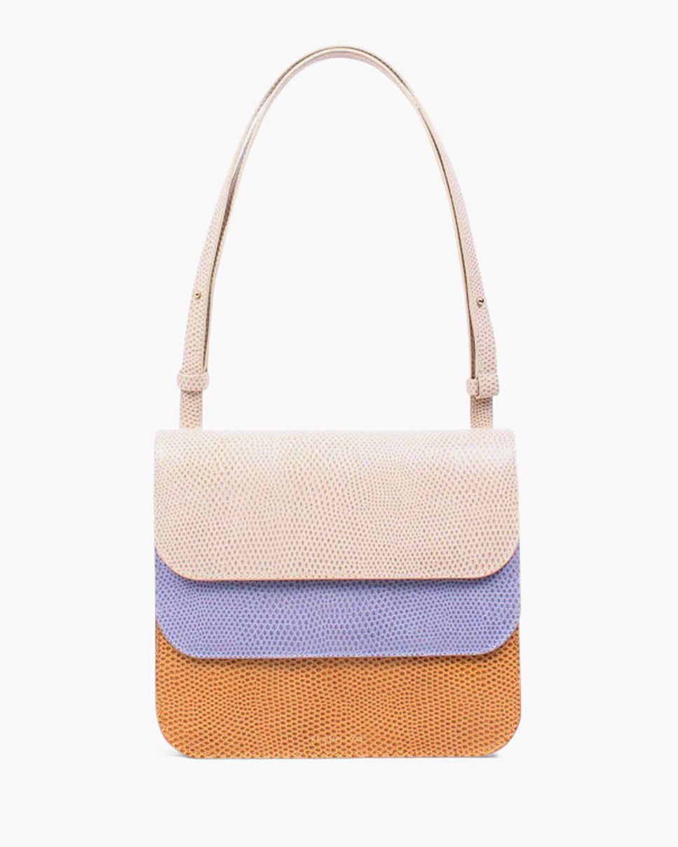Ana Bag Leather Emboss Camel Lavender Trio