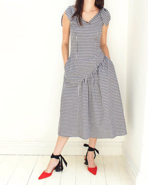 Lily Dress Cotton Black and White Gingham - SPECIAL PRICE