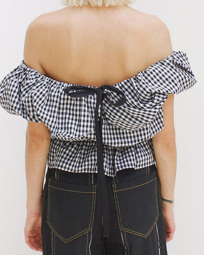 Mina Ruffled Cotton Blouse Black and White Gingham - SPECIAL PRICE