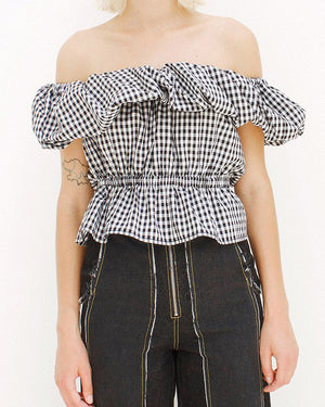 Mina Ruffled Cotton Check  Blouse