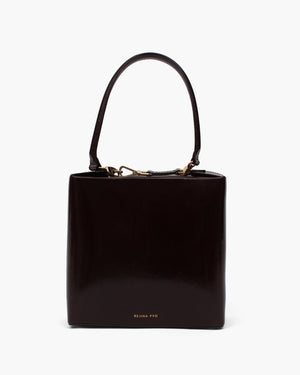 Lucie Bag Leather Patent Crinkle Dark Brown