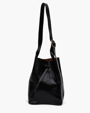 Marlene Bag Midi Leather Patent Crinkle Black