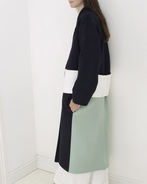 Kate Oversized Coat with Mint Panel and White Belt Wool Navy