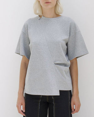 Sabrina Knit Grey T-Shirt with Pleats