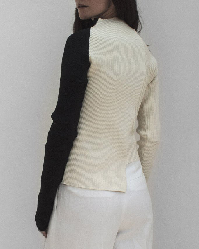 Kelly Knit Sweater Knit Rib Black and White
