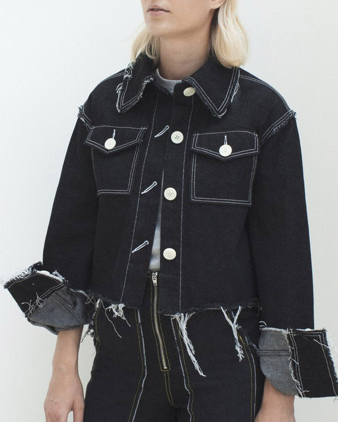 Tessa Raw Edged Jacket Black Denim