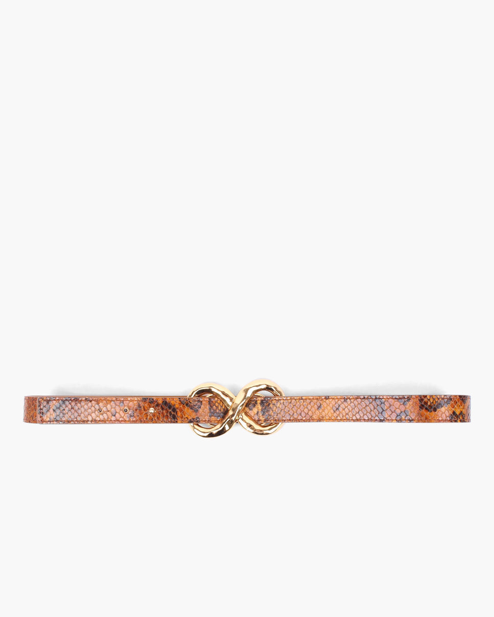Infinity Belt Leather Python-Effect Orange