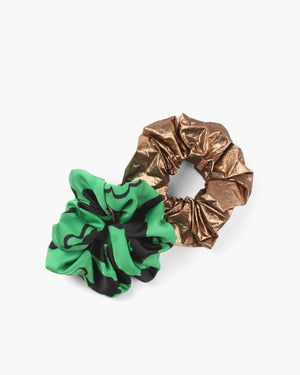 Scrunchie Set Satin Print Green / Lamé Metallic Copper