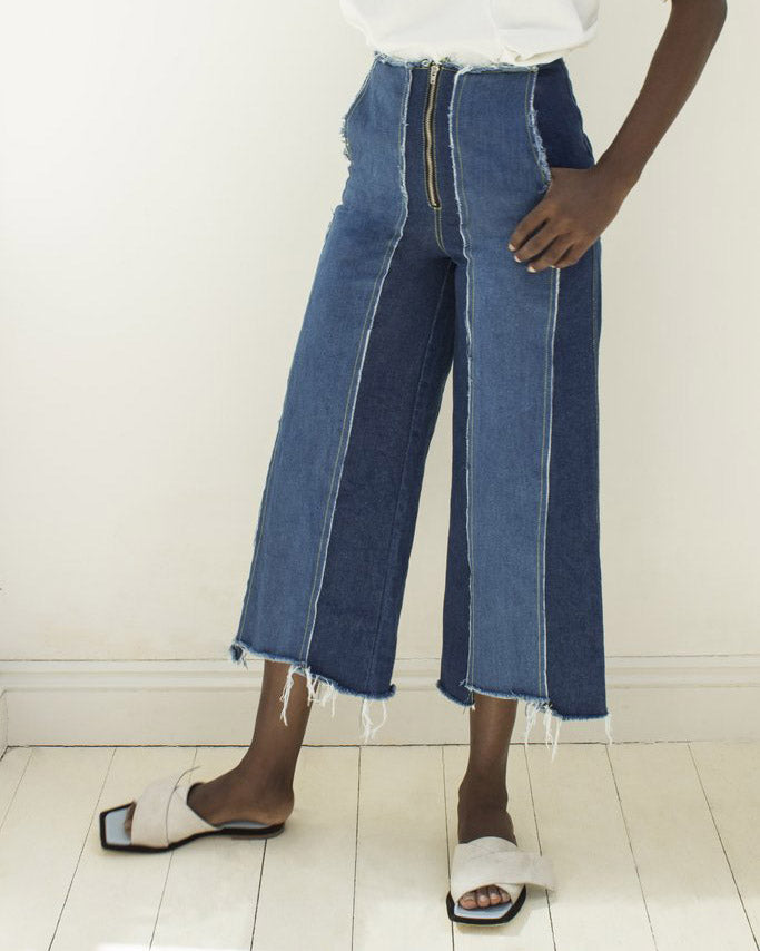 Bella Panelled Jeans Denim Blue Mix - SPECIAL PRICE