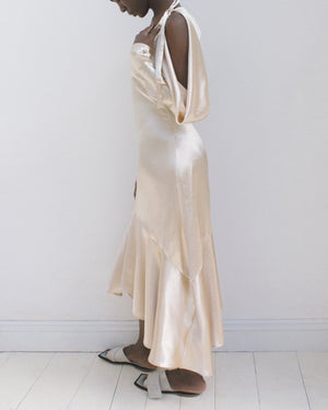 Camille Open Shoulder Dress Satin Champagne