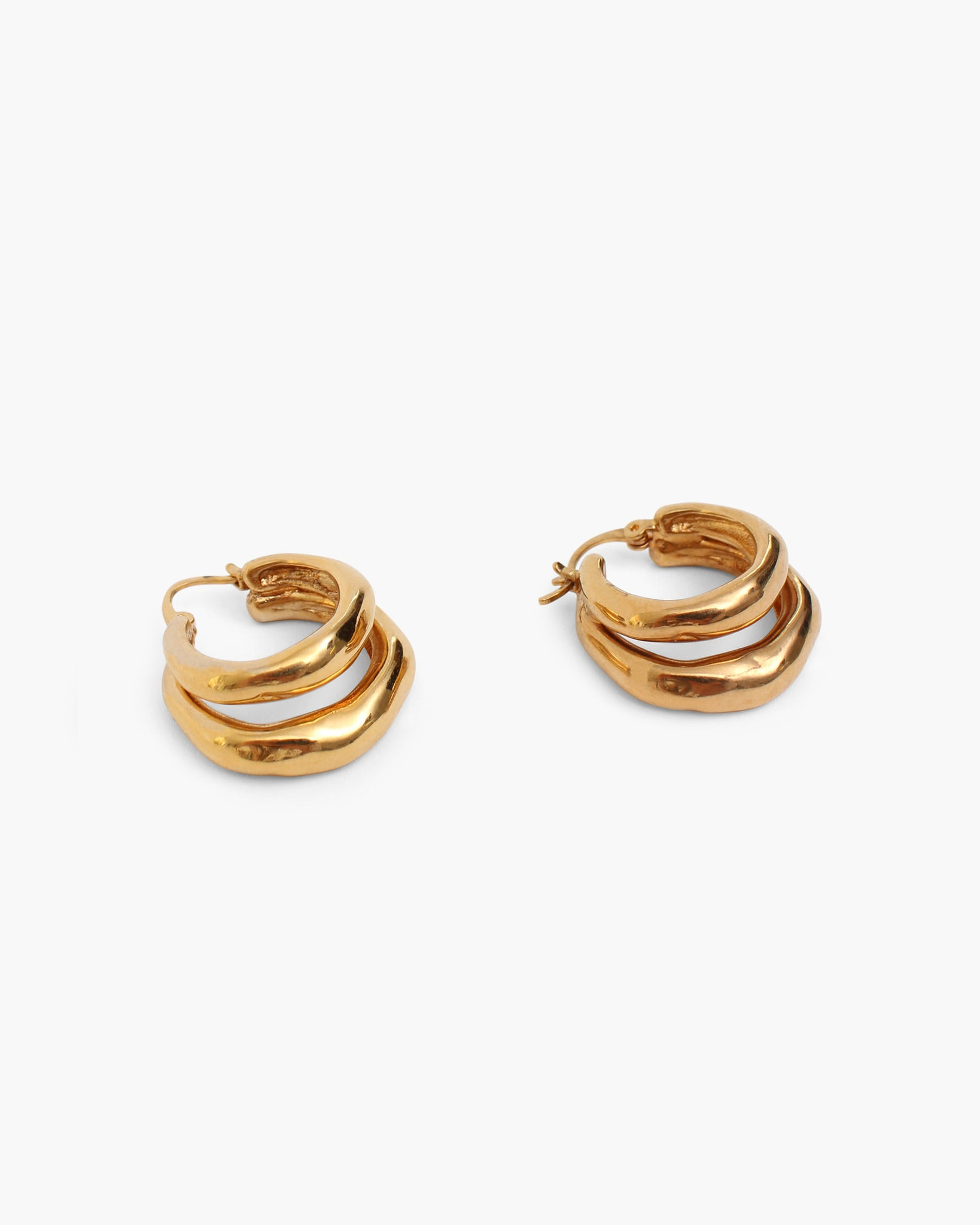 Hana Double Hoops Gold Plated 18k