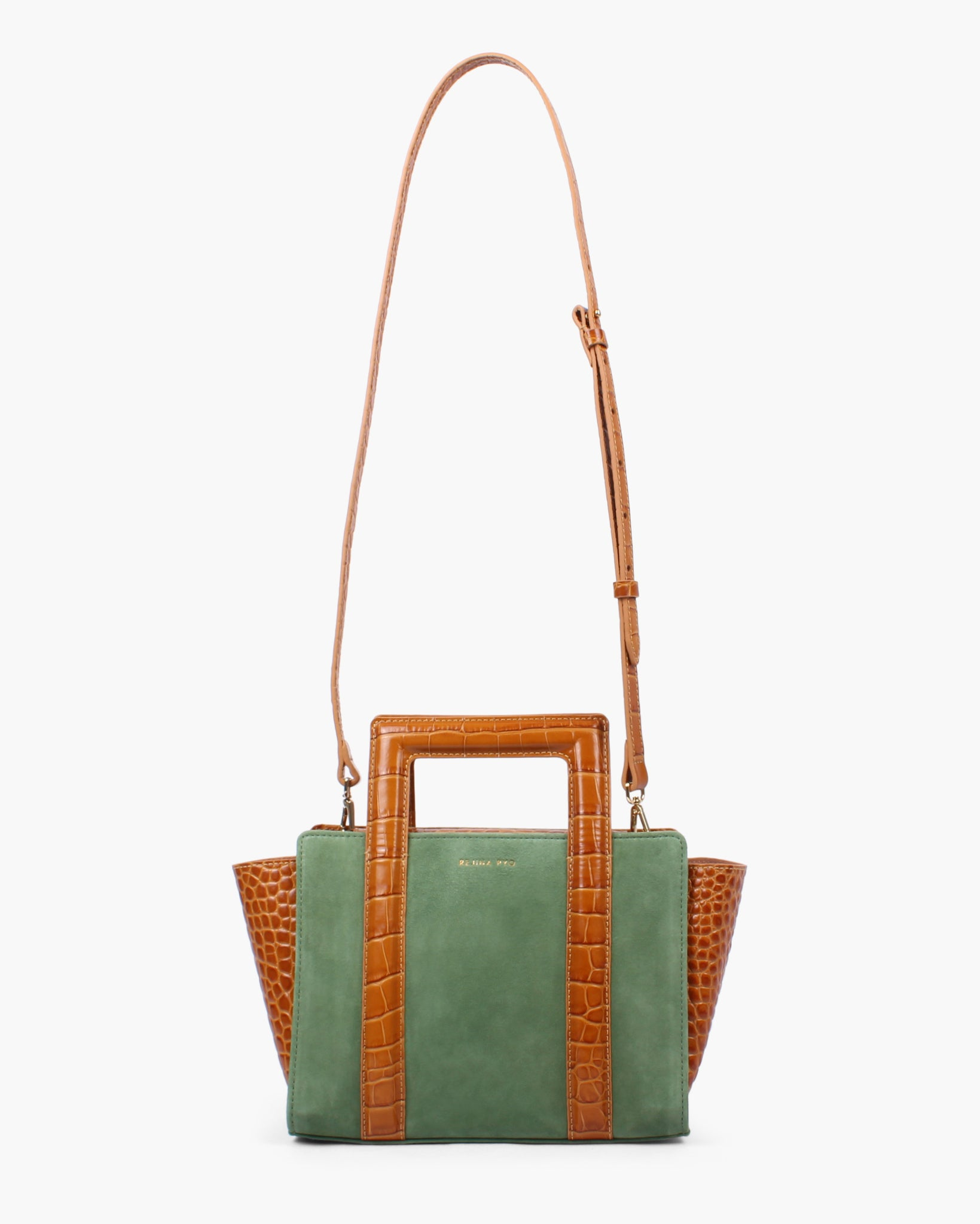 Madison Tote Suede Green and Leather Croc Tan