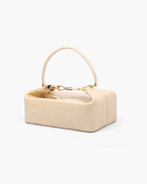 Olivia Box Bag Leather Patent Croc Cream