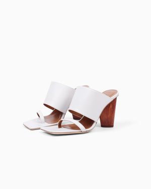 Maria Strap Sandals Leather Ivory with Oblong Heels